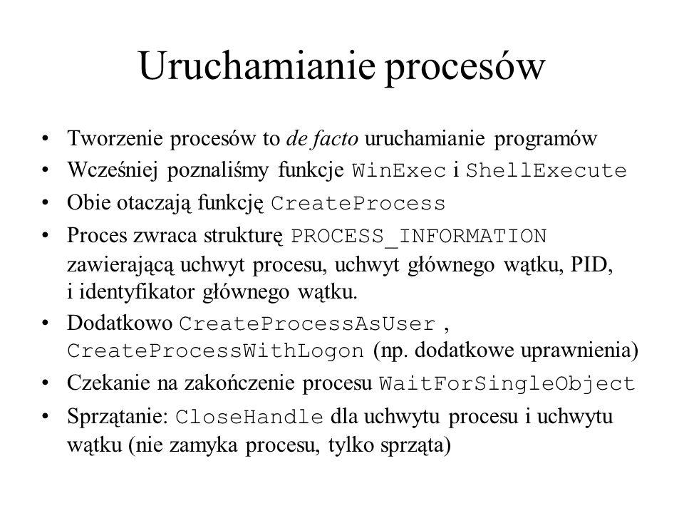 Uruchamianie procesów Tworzenie procesów to de facto uruchamianie programów Wcześniej poznaliśmy funkcje WinExec i ShellExecute Obie otaczają funkcję