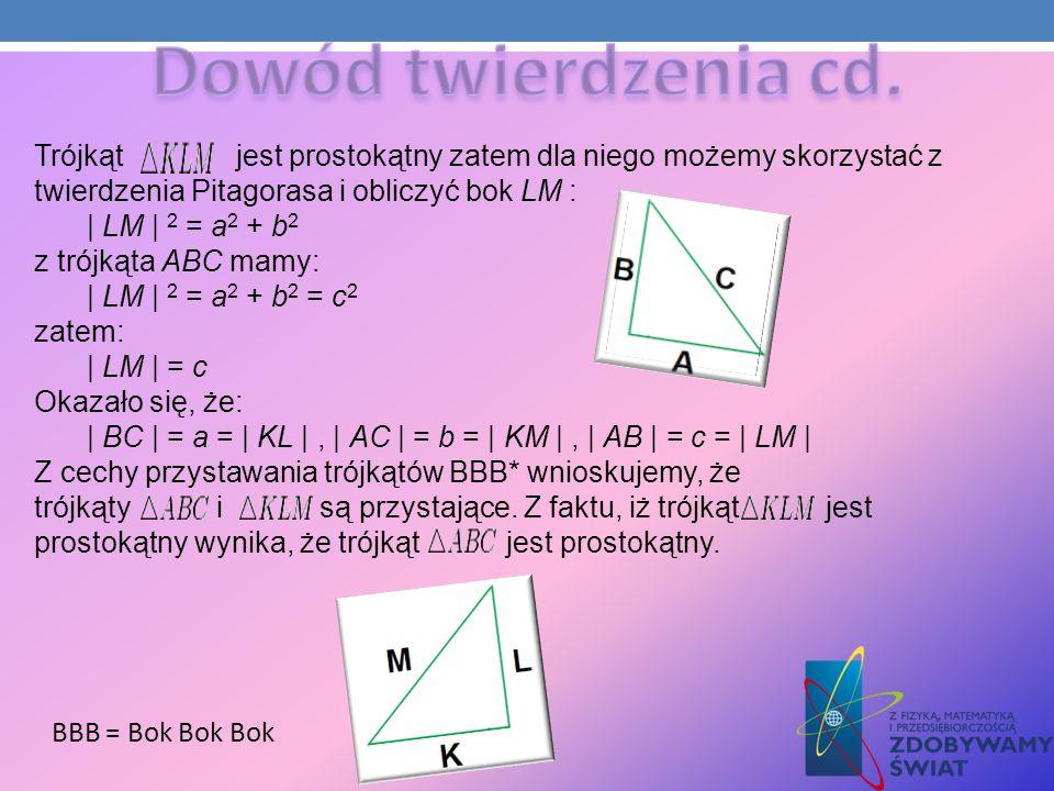 Trójkąt jest prostokątny zatem dla niego możemy skorzystać z twierdzenia Pitagorasa i obliczyć bok LM : | LM | 2 = a 2 + b 2 z trójkąta ABC mamy: | LM
