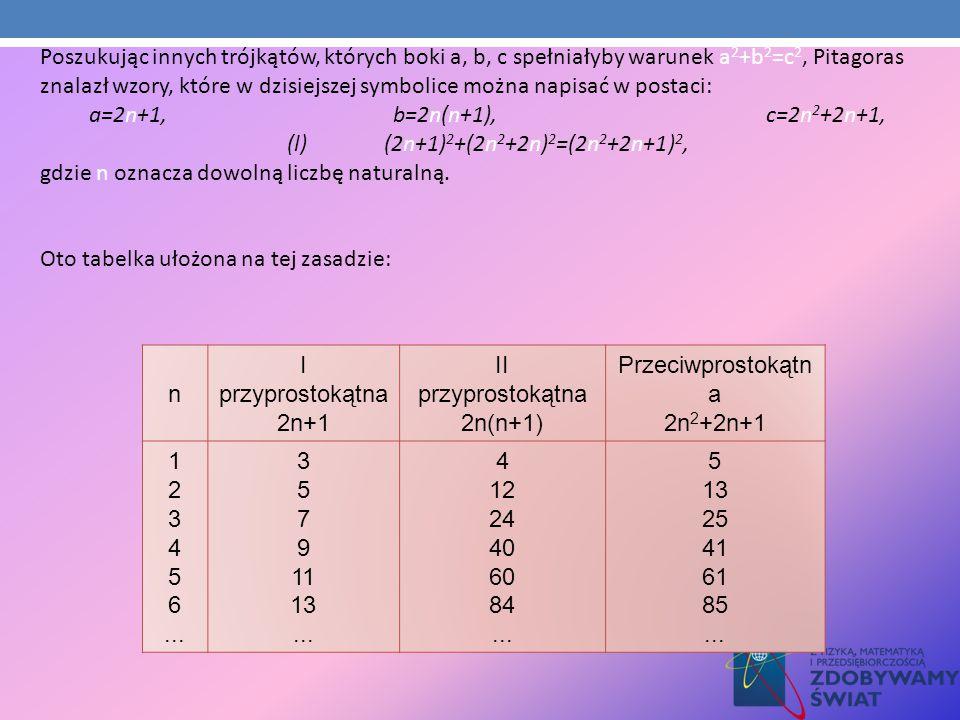 n I przyprostokątna 2n+1 II przyprostokątna 2n(n+1) Przeciwprostokątn a 2n 2 +2n+1 1 2 3 4 5 6... 3 5 7 9 11 13... 4 12 24 40 60 84... 5 13 25 41 61 8