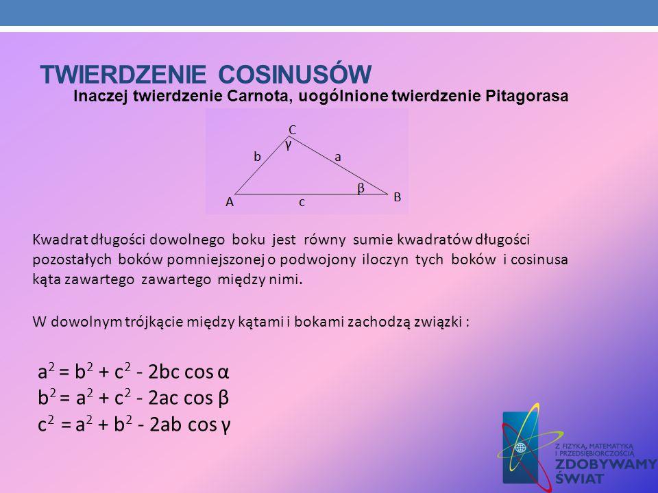 TWIERDZENIE COSINUSÓW Kwadrat długości dowolnego boku jest równy sumie kwadratów długości pozostałych boków pomniejszonej o podwojony iloczyn tych bok