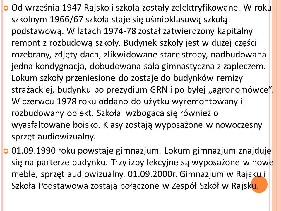 Od września 1947 Rajsko i szkoła zostały zelektryfikowane.