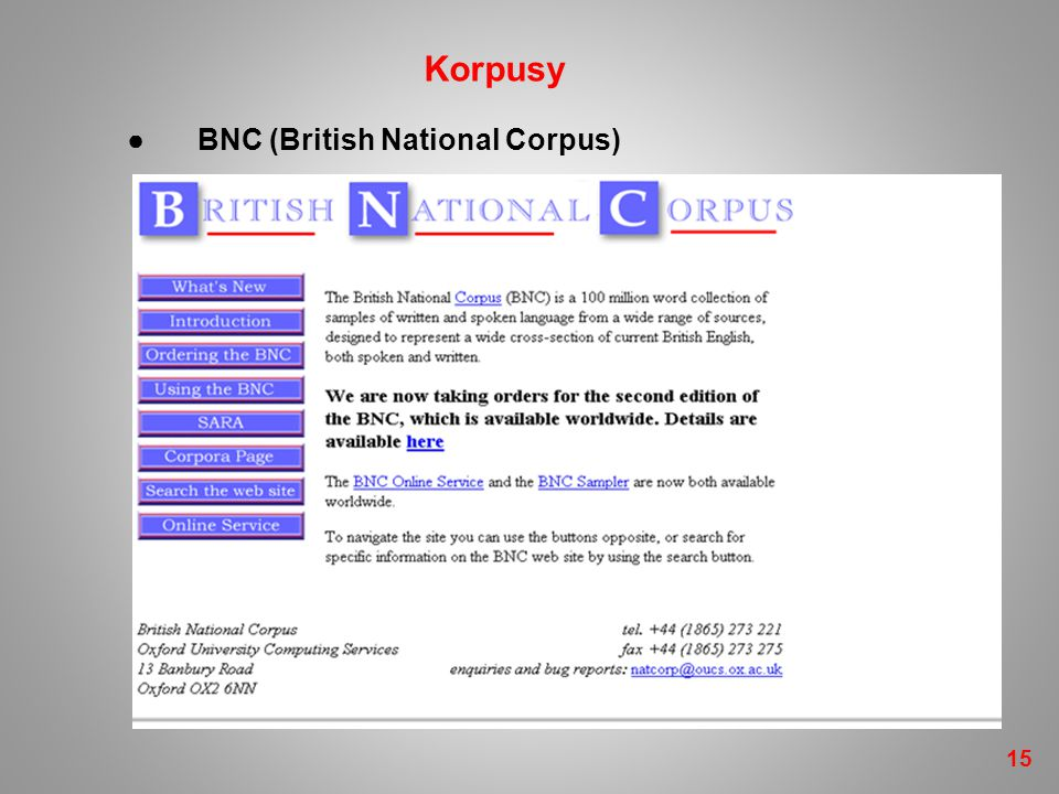 ●BNC (British National Corpus) 15 Korpusy