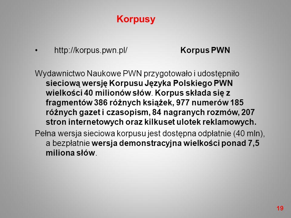 http://korpus.pwn.pl/ Korpus PWN Wydawnictwo Naukowe PWN przygotowało i udostępniło sieciową wersję Korpusu Języka Polskiego PWN wielkości 40 milionów