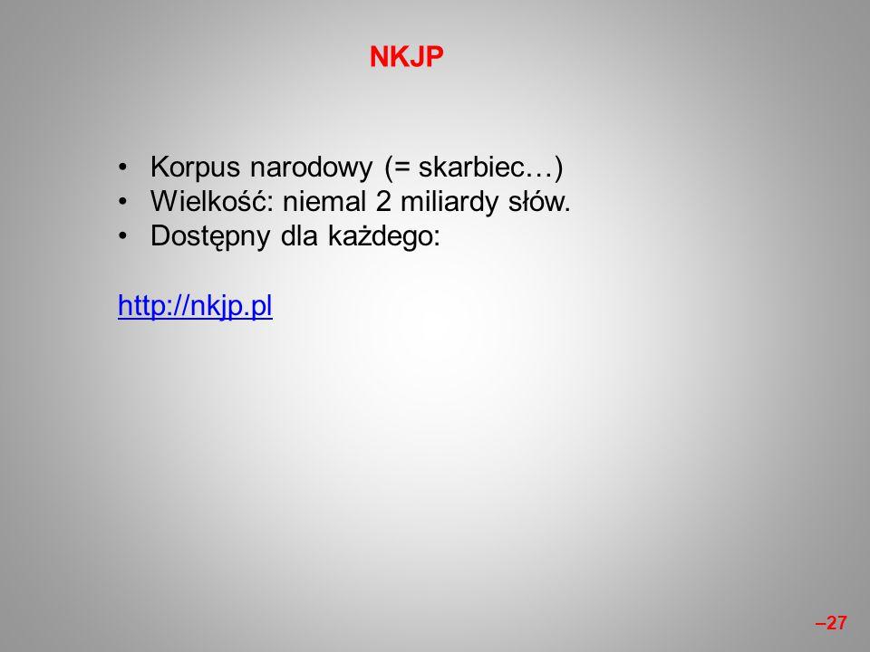 Korpus narodowy (= skarbiec…) Wielkość: niemal 2 miliardy słów. Dostępny dla każdego: http://nkjp.pl NKJP –27