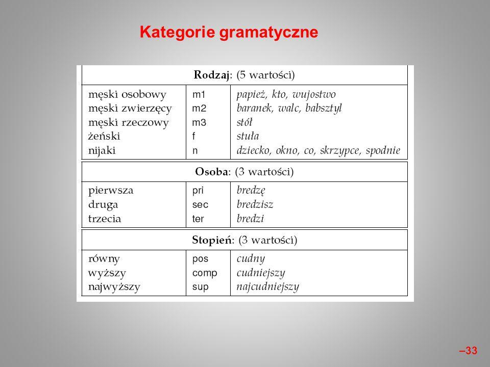 Kategorie gramatyczne –33