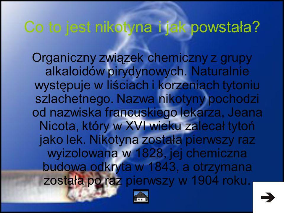 Co to jest nikotyna i jak powstała? Organiczny związek chemiczny z grupy alkaloidów pirydynowych. Naturalnie występuje w liściach i korzeniach tytoniu