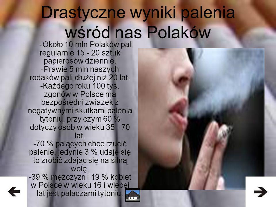 Drastyczne wyniki palenia wśród nas Polaków -Około 10 mln Polaków pali regularnie 15 - 20 sztuk papierosów dziennie. -Prawie 5 mln naszych rodaków pal