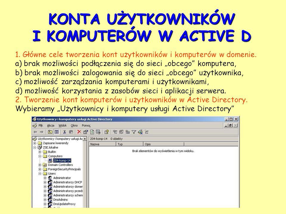 KONTA UŻYTKOWNIKÓW I KOMPUTERÓW W ACTIVE D 1.