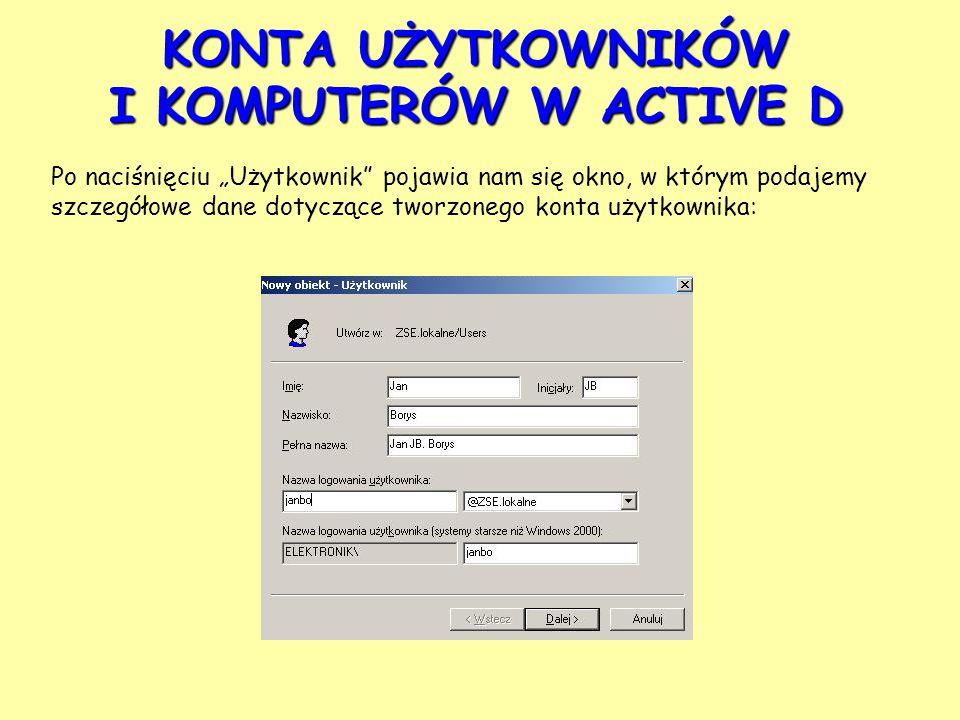 """KONTA UŻYTKOWNIKÓW I KOMPUTERÓW W ACTIVE D Po naciśnięciu """"Użytkownik pojawia nam się okno, w którym podajemy szczegółowe dane dotyczące tworzonego konta użytkownika:"""