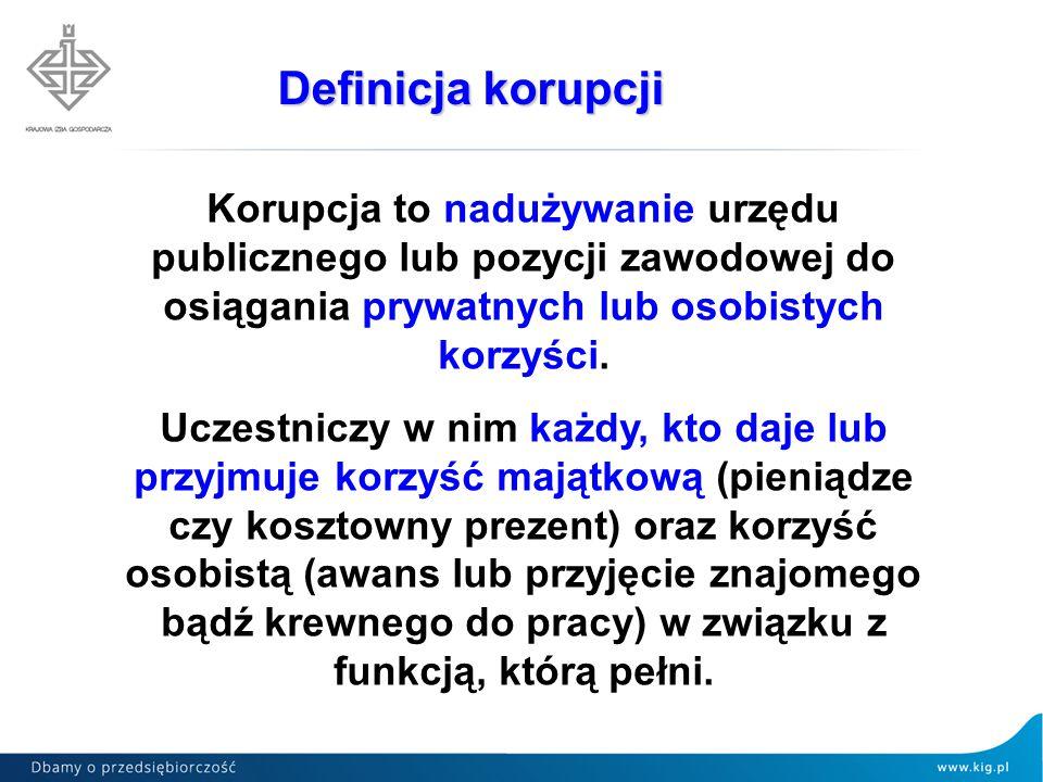 Korupcja to nadużywanie urzędu publicznego lub pozycji zawodowej do osiągania prywatnych lub osobistych korzyści. Uczestniczy w nim każdy, kto daje lu