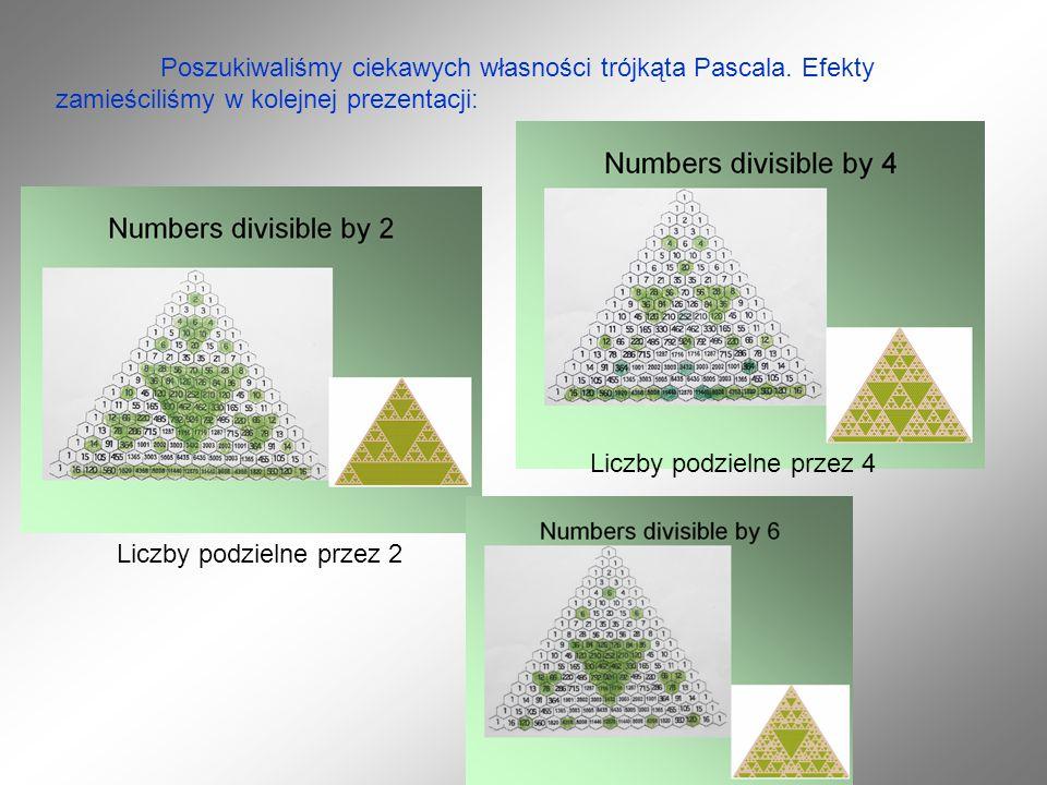 Poszukiwaliśmy ciekawych własności trójkąta Pascala.
