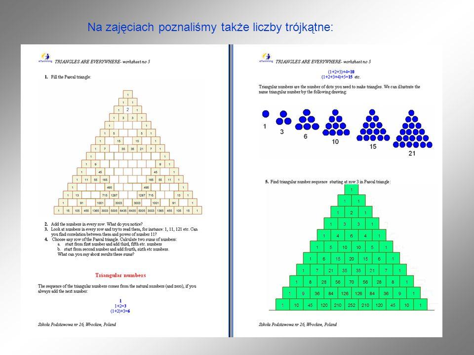 Na zajęciach poznaliśmy także liczby trójkątne: