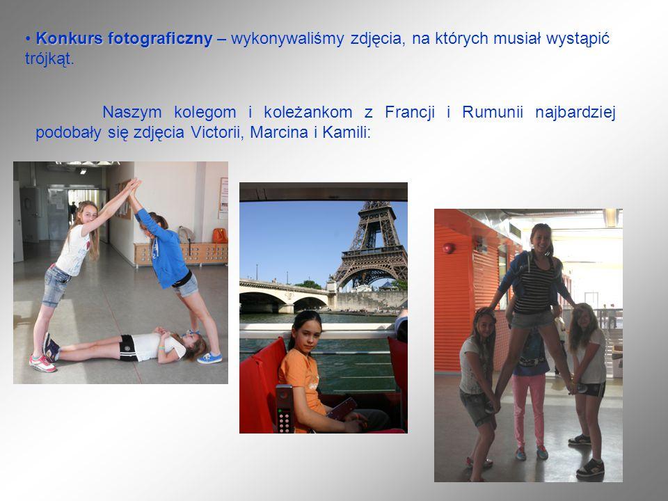 Konkurs fotograficzny Konkurs fotograficzny – wykonywaliśmy zdjęcia, na których musiał wystąpić trójkąt. Naszym kolegom i koleżankom z Francji i Rumun