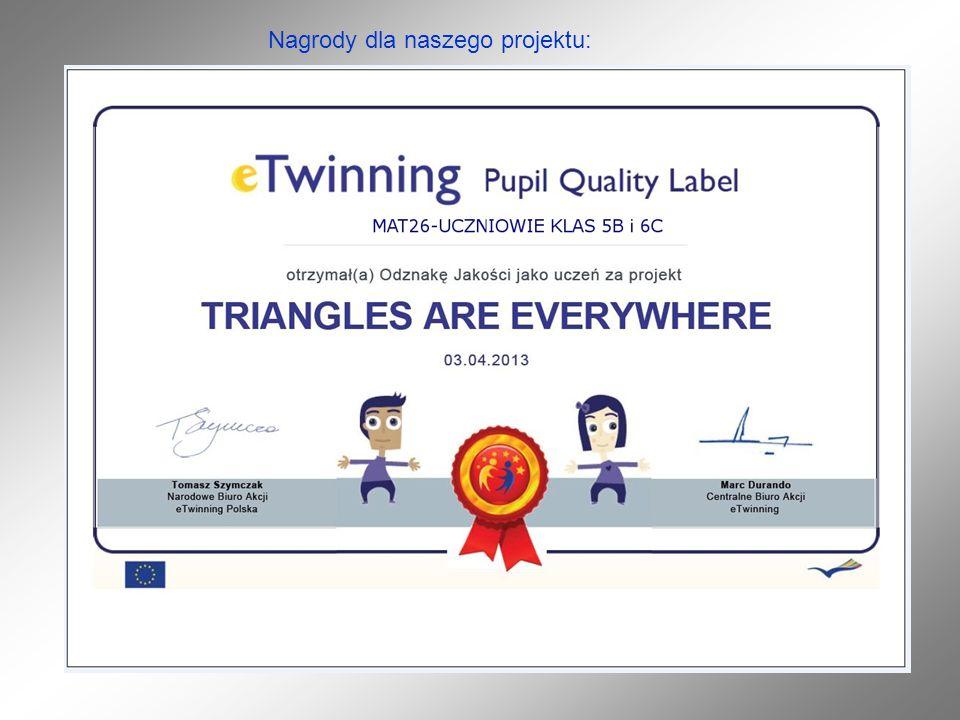 Nagrody dla naszego projektu: