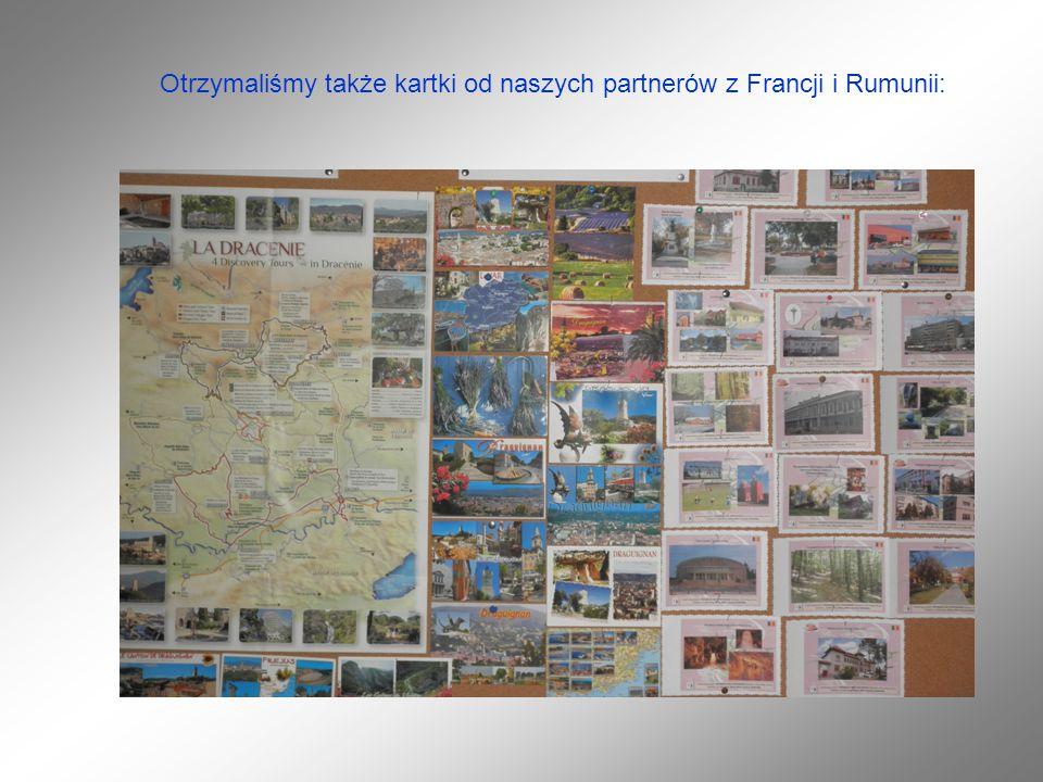 Otrzymaliśmy także kartki od naszych partnerów z Francji i Rumunii: