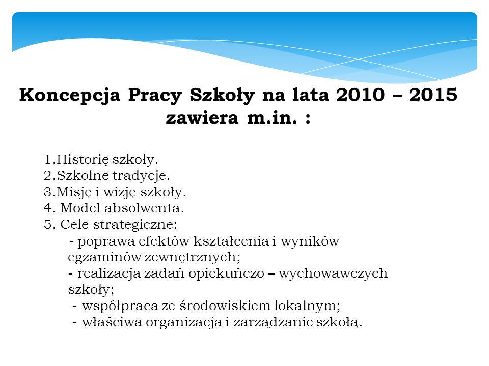 Koncepcja Pracy Szkoły na lata 2010 – 2015 zawiera m.in. : 1.Historię szkoły. 2.Szkolne tradycje. 3.Misję i wizję szkoły. 4. Model absolwenta. 5. Cele