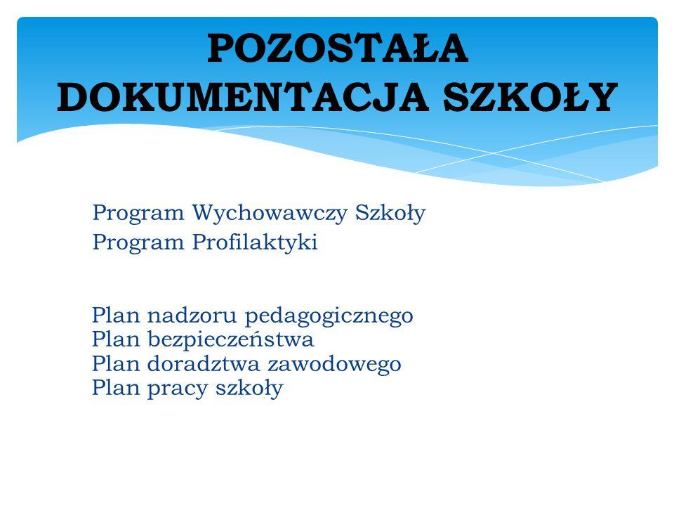 Program Wychowawczy Szkoły Program Profilaktyki Plan nadzoru pedagogicznego Plan bezpieczeństwa Plan doradztwa zawodowego Plan pracy szkoły POZOSTAŁA