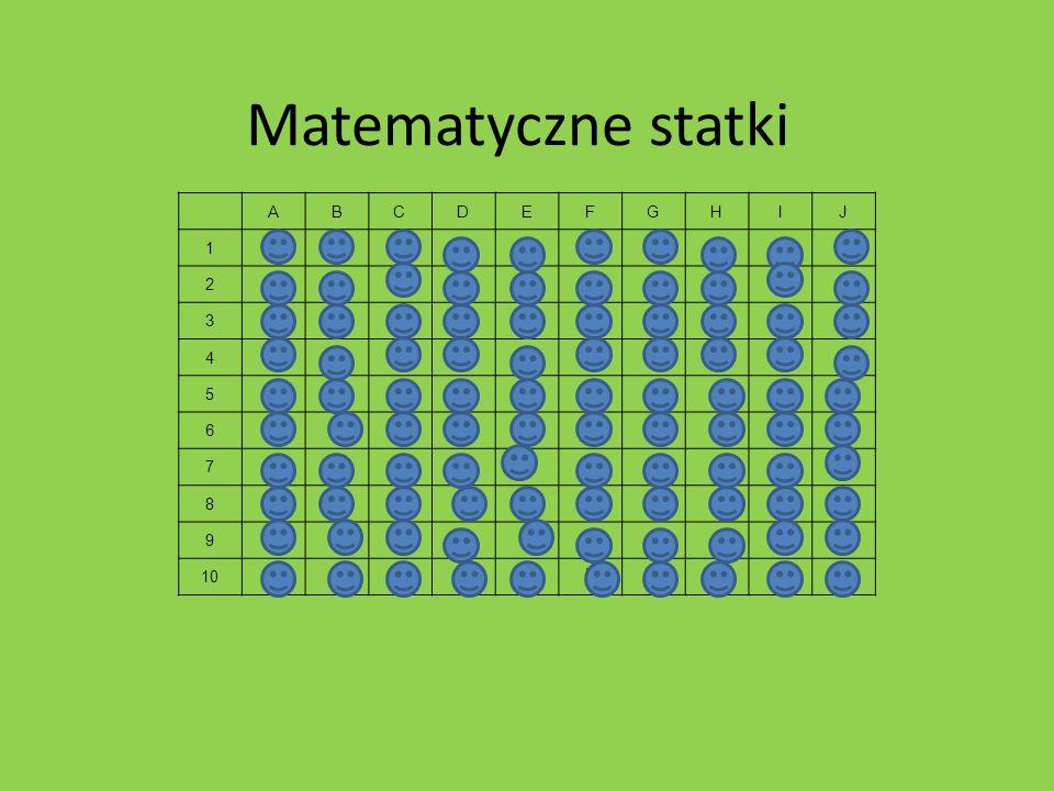 Matematyczne statki ABCDEFGHIJ 1 xxX 2 XX 3 XXX 4 Xx 5 xXX 6 XxX 7 xX 8 XxX 9 Xx 10 xxxXXxX