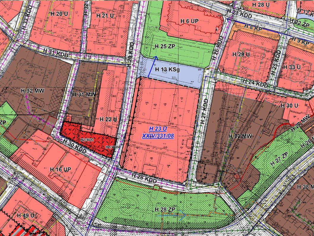 H23U – Teren zabudowy usługowej Przeznaczenie podstawowe: - zabudowa usługowa, - budynki użyteczności publicznej, Przeznaczenie uzupełniające (do 50% powierzchni użytkowej zabudowy): - budynki zamieszkania zbiorowego, - budynki mieszkalne wielorodzinne.