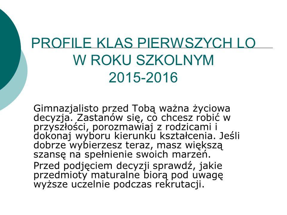 PROFILE KLAS PIERWSZYCH LO W ROKU SZKOLNYM 2015-2016 Gimnazjalisto przed Tobą ważna życiowa decyzja.