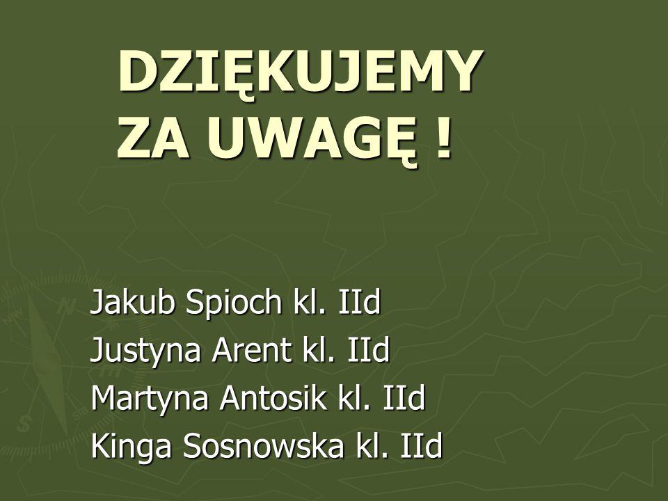 DZIĘKUJEMY ZA UWAGĘ . Jakub Spioch kl. IId Justyna Arent kl.