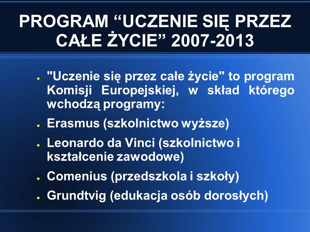PROGRAM UCZENIE SIĘ PRZEZ CAŁE ŻYCIE 2007-2013 Jego celem jest rozwój różnych form uczenia się poprzez wspieranie współpracy między systemami edukacji i szkoleń w krajach uczestniczących.