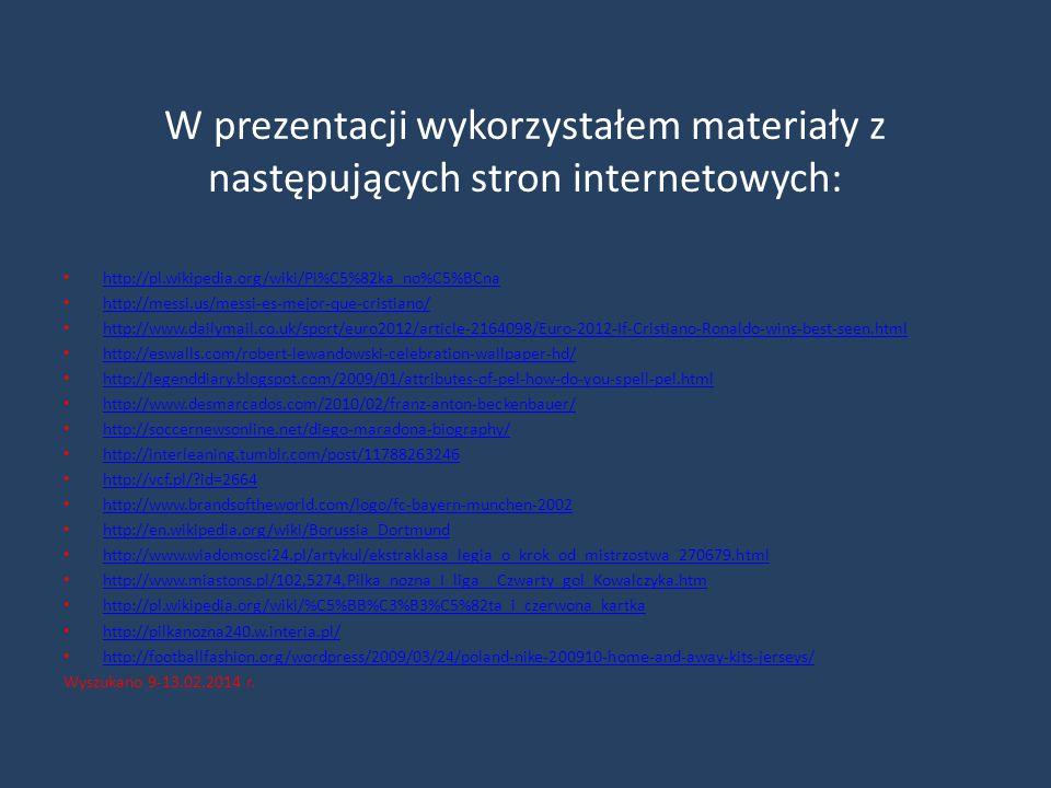 W prezentacji wykorzystałem materiały z następujących stron internetowych: http://pl.wikipedia.org/wiki/Pi%C5%82ka_no%C5%BCna http://messi.us/messi-es