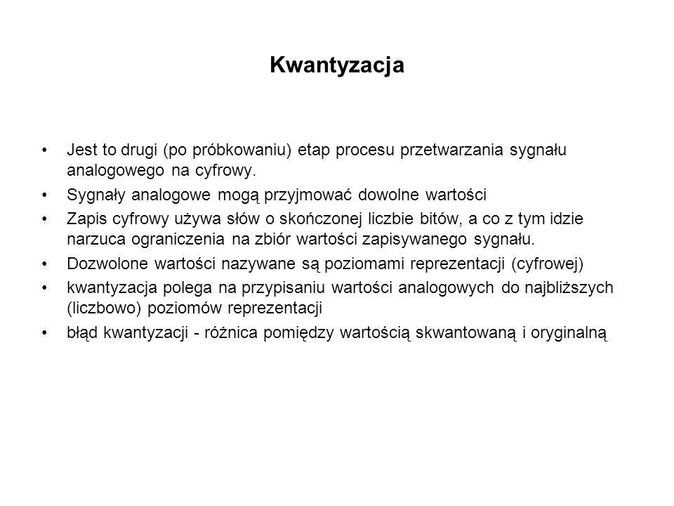 Kwantyzacja Jest to drugi (po próbkowaniu) etap procesu przetwarzania sygnału analogowego na cyfrowy.
