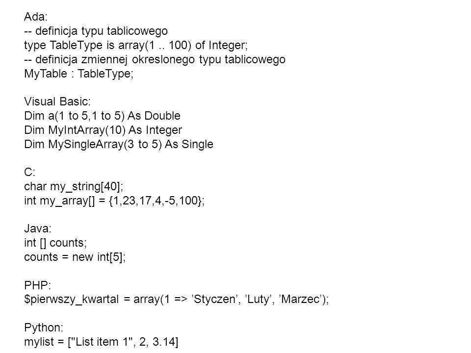 Ada: -- definicja typu tablicowego type TableType is array(1..