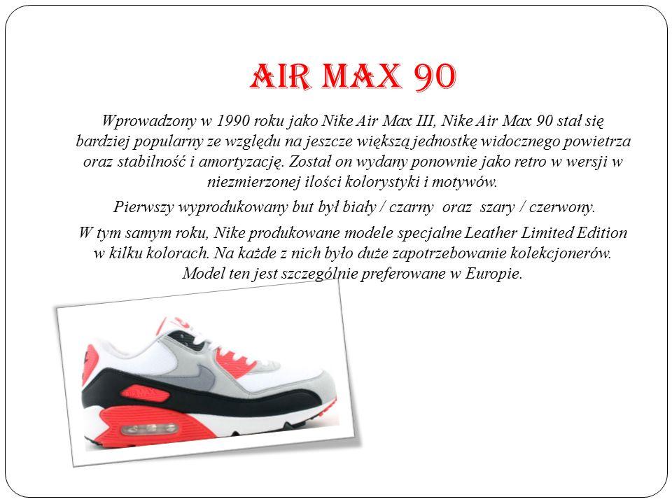 AIR MAX 90 Wprowadzony w 1990 roku jako Nike Air Max III, Nike Air Max 90 stał się bardziej popularny ze względu na jeszcze większą jednostkę widoczne