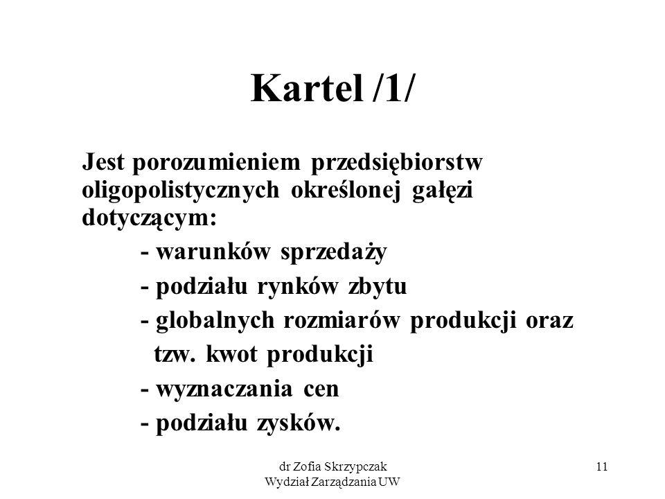 dr Zofia Skrzypczak Wydział Zarządzania UW 11 Kartel /1/ Jest porozumieniem przedsiębiorstw oligopolistycznych określonej gałęzi dotyczącym: - warunkó