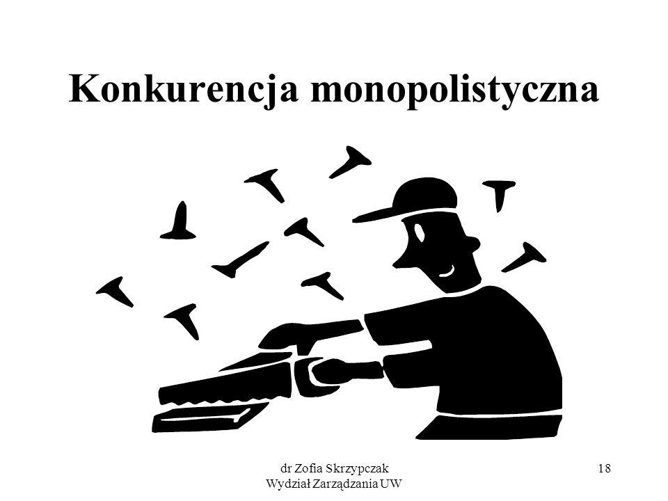 dr Zofia Skrzypczak Wydział Zarządzania UW 18 Konkurencja monopolistyczna
