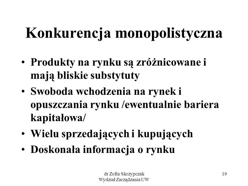 dr Zofia Skrzypczak Wydział Zarządzania UW 19 Konkurencja monopolistyczna Produkty na rynku są zróżnicowane i mają bliskie substytuty Swoboda wchodzen