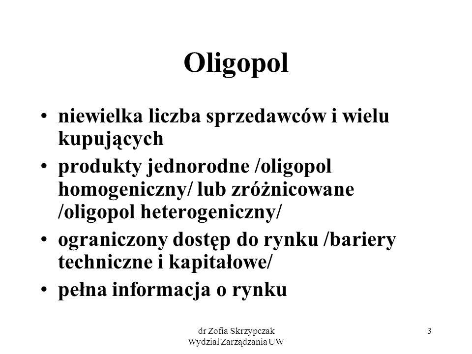 dr Zofia Skrzypczak Wydział Zarządzania UW 3 Oligopol niewielka liczba sprzedawców i wielu kupujących produkty jednorodne /oligopol homogeniczny/ lub