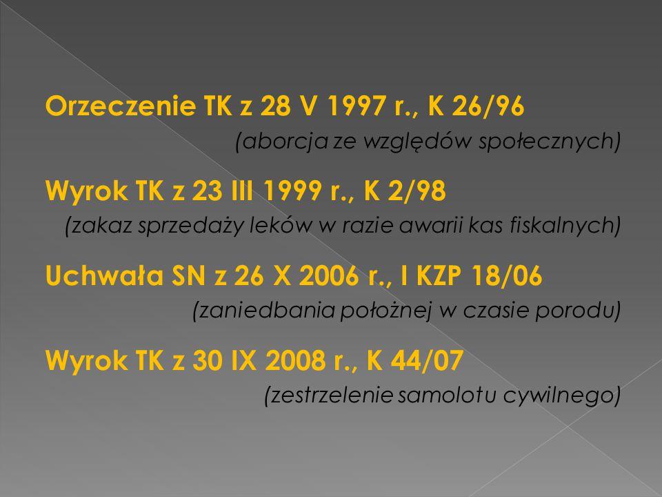Orzeczenie TK z 28 V 1997 r., K 26/96 (aborcja ze względów społecznych) Wyrok TK z 23 III 1999 r., K 2/98 (zakaz sprzedaży leków w razie awarii kas fi