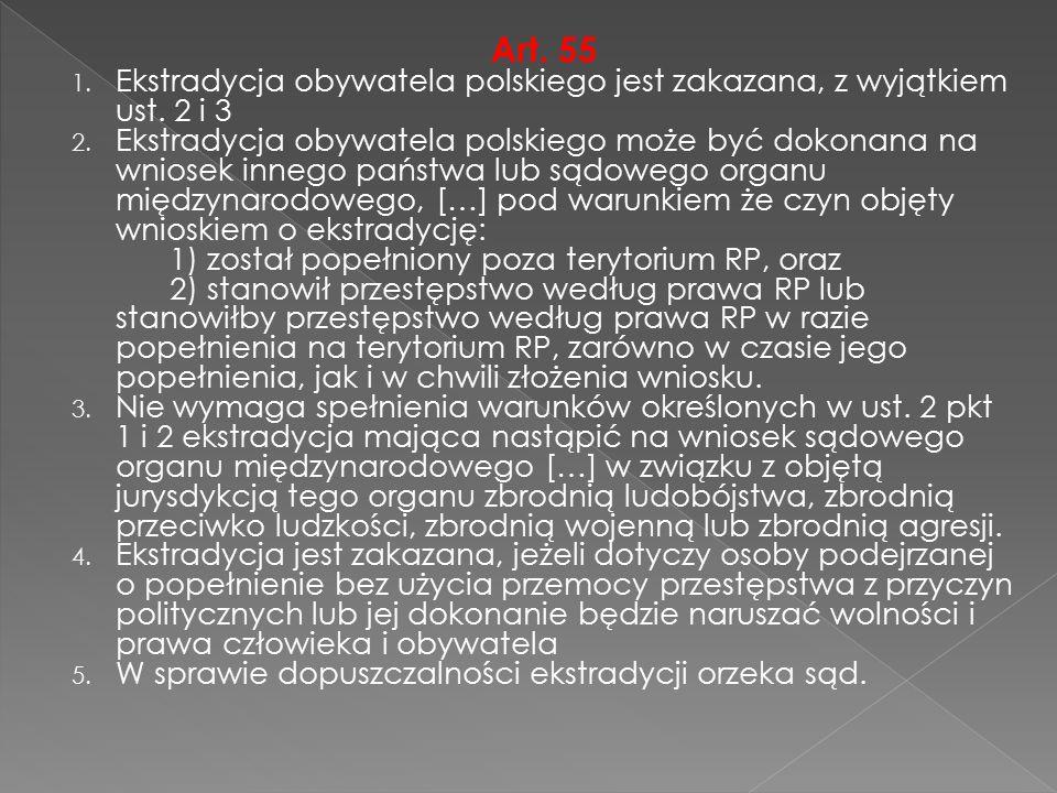 Art. 55 1. Ekstradycja obywatela polskiego jest zakazana, z wyjątkiem ust. 2 i 3 2. Ekstradycja obywatela polskiego może być dokonana na wniosek inneg