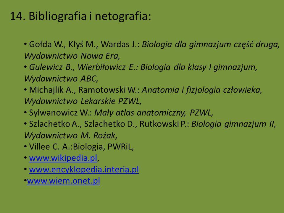 14. Bibliografia i netografia: Gołda W., Kłyś M., Wardas J.: Biologia dla gimnazjum część druga, Wydawnictwo Nowa Era, Gulewicz B., Wierbiłowicz E.: B
