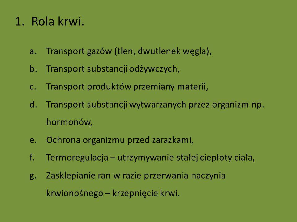 1.Rola krwi. a.Transport gazów (tlen, dwutlenek węgla), b.Transport substancji odżywczych, c.Transport produktów przemiany materii, d.Transport substa