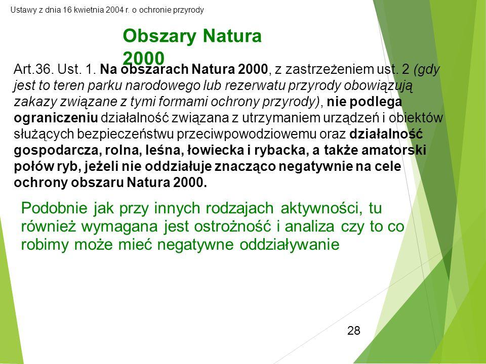 28 Ustawy z dnia 16 kwietnia 2004 r. o ochronie przyrody Obszary Natura 2000 Art.36. Ust. 1. Na obszarach Natura 2000, z zastrzeżeniem ust. 2 (gdy jes