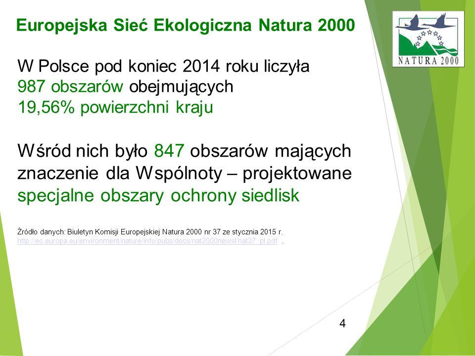 4 Europejska Sieć Ekologiczna Natura 2000 W Polsce pod koniec 2014 roku liczyła 987 obszarów obejmujących 19,56% powierzchni kraju Wśród nich było 847
