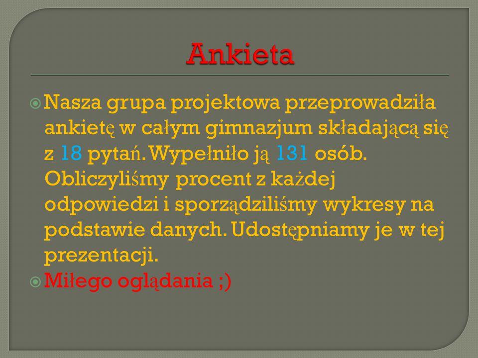  Nasza grupa projektowa przeprowadzi ł a ankiet ę w ca ł ym gimnazjum sk ł adaj ą c ą si ę z 18 pyta ń.