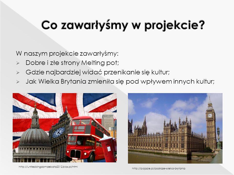 W naszym projekcie zawarłyśmy:  Dobre i złe strony Melting pot;  Gdzie najbardziej widać przenikanie się kultur;  Jak Wielka Brytania zmieniła się pod wpływem innych kultur; http://unitedkingdomdebata2012.blox.pl/html http://pojade.pl/podroze-wielka-brytania