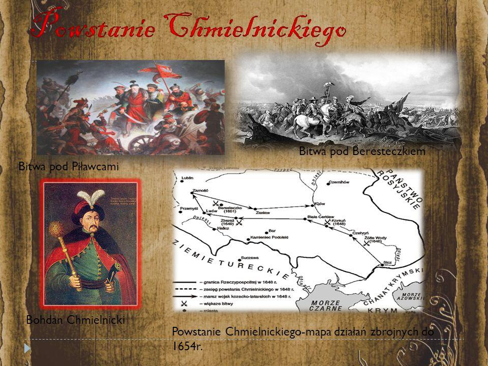 Bitwa pod Piławcami Bitwa pod Beresteczkiem Bohdan Chmielnicki Powstanie Chmielnickiego-mapa działań zbrojnych do 1654r.