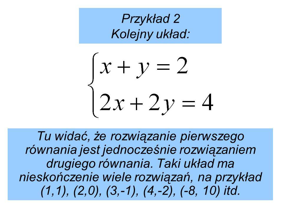 Przykład 2 Kolejny układ: Tu widać, że rozwiązanie pierwszego równania jest jednocześnie rozwiązaniem drugiego równania.
