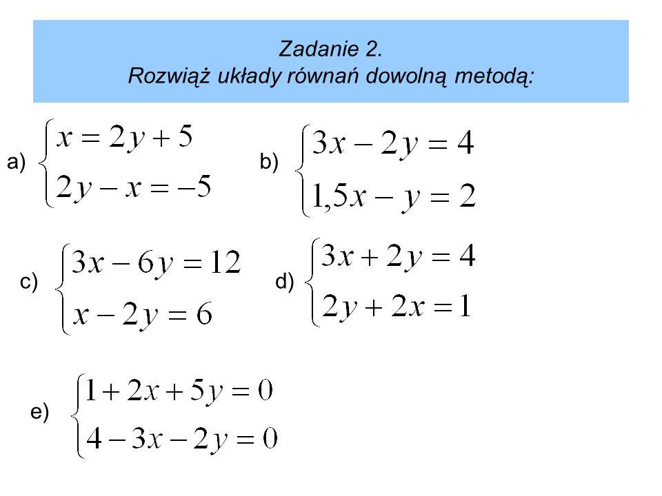 Zadanie 2. Rozwiąż układy równań dowolną metodą: a) e) d)c) b)