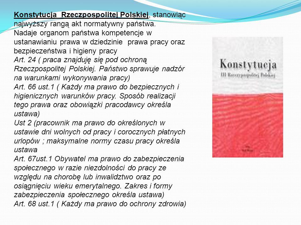 Konstytucja Rzeczpospolitej Polskiej, stanowiąc najwyższy rangą akt normatywny państwa. Nadaje organom państwa kompetencje w ustanawianiu prawa w dzie
