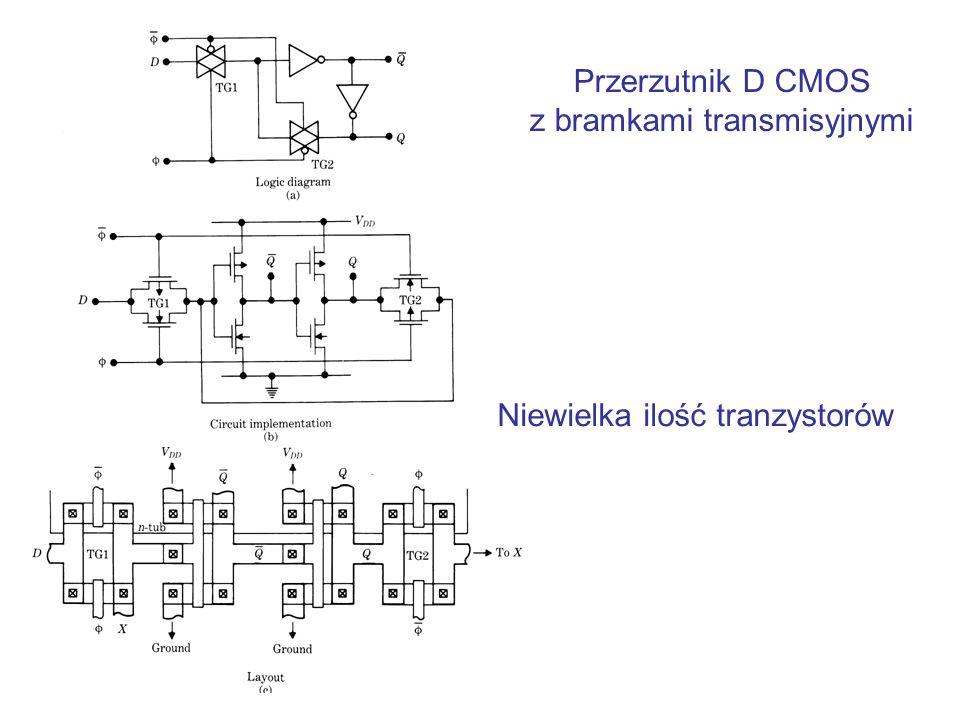 Przerzutnik D CMOS z bramkami transmisyjnymi Niewielka ilość tranzystorów