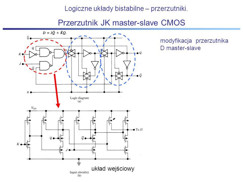 Przerzutnik JK master-slave CMOS Logiczne układy bistabilne – przerzutniki. modyfikacja przerzutnika D master-slave układ wejściowy