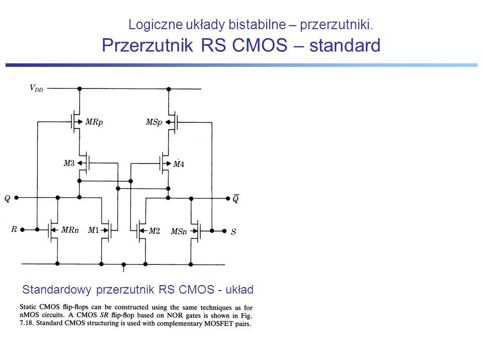 Logiczne układy bistabilne – przerzutniki. Standardowy przerzutnik RS CMOS - układ Przerzutnik RS CMOS – standard