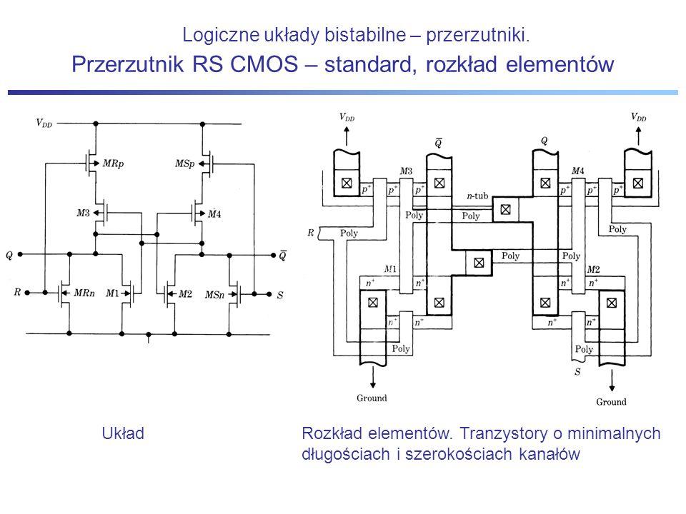 Logiczne układy bistabilne – przerzutniki. Układ Przerzutnik RS CMOS – standard, rozkład elementów Rozkład elementów. Tranzystory o minimalnych długoś